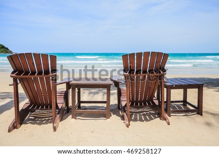 Loungers on Samet beach Rayong Thailand nature in summer vacation