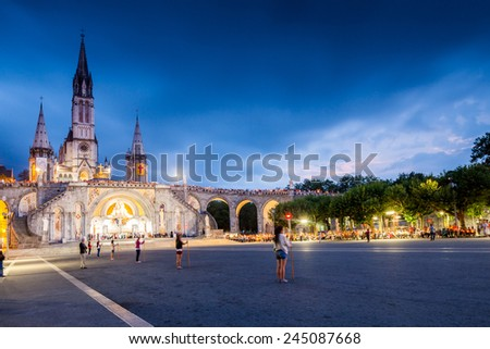 Lourdes sunset - stock photo