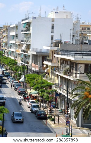 LOUTRAKI, GREECE - 31 MAY, 2015: Street in Loutraki. Loutraki - resort city, which is well known in Greece because of its mineral springs.