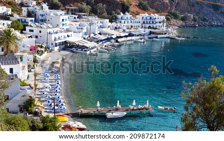 Loutro is the small village of the remoute and mountainous region of west Crete, Greece. - stock photo