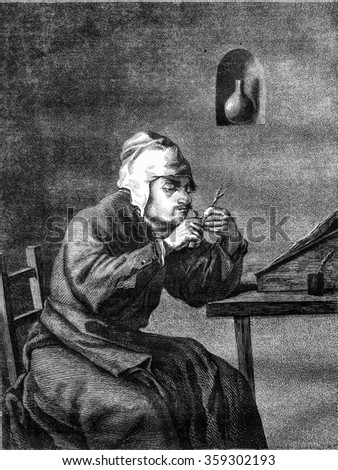 Louvre Lacaze collection, Man cutting his pen, vintage engraved illustration. Magasin Pittoresque 1878.