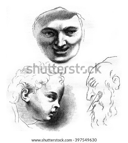 Louvre Museum, gallery of drawings, Heads of study by Rubens, vintage engraved illustration. Magasin Pittoresque 1867.