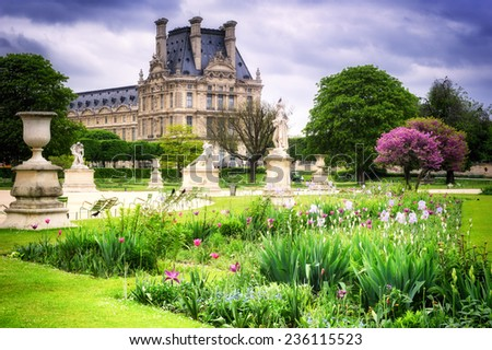 Louvre palace and Tuileries garden. Paris, France