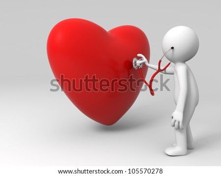 love/A person are diagnosing the heart - stock photo