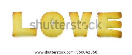 Love alphabet biscuit.English alphabet made from bread.Letters of the British alphabet made of gingerbread. - stock photo