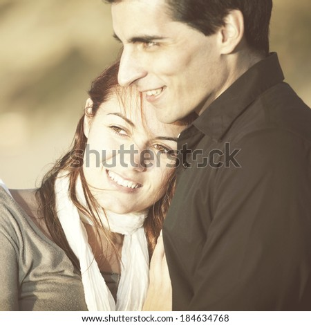 Love and affection between a young couple in outdoor