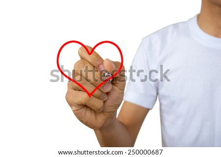love and happiness concept  happy  - portrait of men in white vest writing in the air