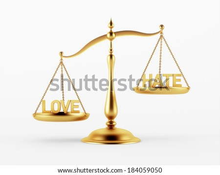 Love and Hate Justice Scale Concept isolated on white background