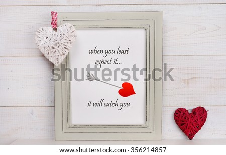 Love and  St Valentine Day background. Picture frame rustic , shabby chic, vintage style and heart shape decoration. Scandinavian style home interior decor.