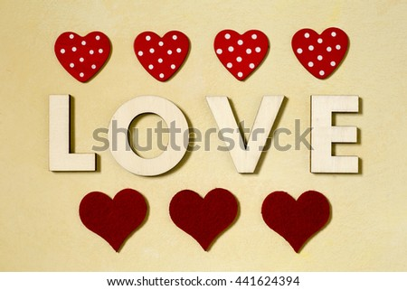 Love and Valentines day background with red hearts - stock photo