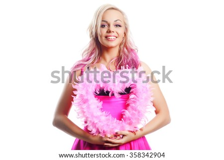 Love and valentines day. sexe woman in short pink dress holding heart smiling cute and adorable - stock photo