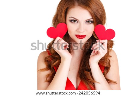 Love and valentines day woman holding hearts smiling cute and adorable isolated on white background. attractive smiling redhair woman with hearts on white background - stock photo