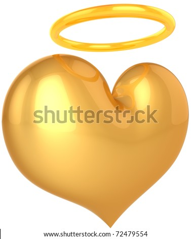 Love Angel heart golden symbol. In Love we trust concept. Holy good paradise abstract. This is a detailed render 3d (Hi-Res). Isolated on white background
