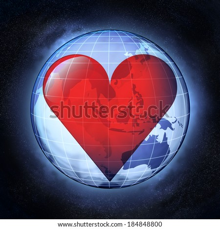 love Asia drawing on earth globe at cosmic view concept illustration - stock photo