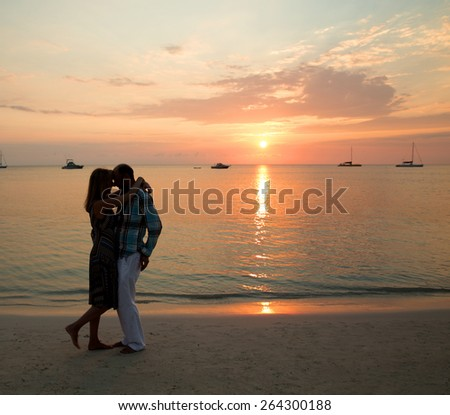 Love at sunset - stock photo
