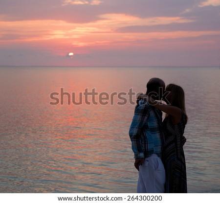 Love at sunset - stock photo