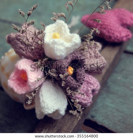 Love background, handmade flower make from yarn, knitted love, meaningful for valentines day or mother day, amazing diy for holiday - stock photo