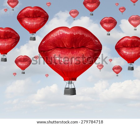 Love balloons as a hot air balloon made of human red lips soaring up to the blue sky as a surreal dreamy romantic passion concept and emotional trip or freedom discovery travel. - stock photo