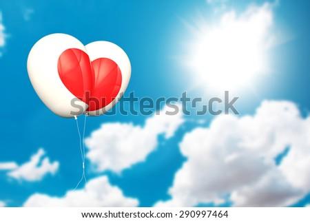 love balloons on blue sky - stock photo