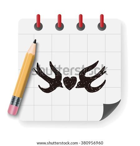 love bird doodle - stock photo