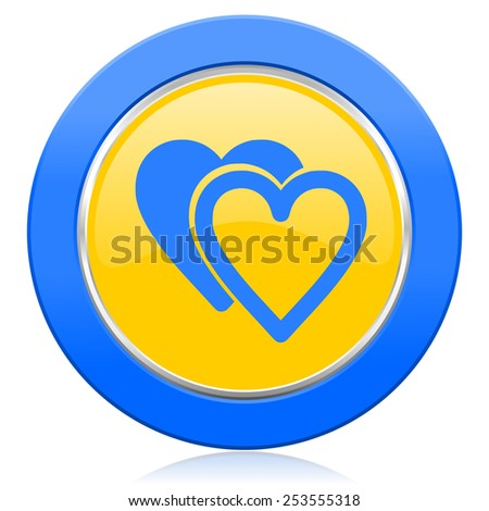 love blue yellow icon sign hearts symbol  - stock photo
