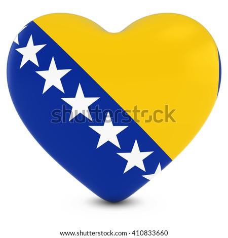 Love Bosnia and Herzegovina Concept Image - Heart textured with Bosnian and Herzegovinian Flag - stock photo