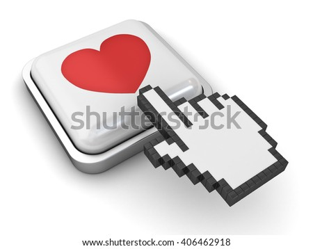 Love button and hand cursor isolated on white background with shadow. 3D rendering. - stock photo