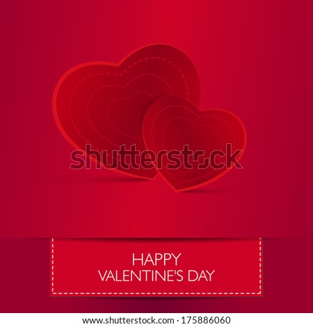 Love card Happy Valentines Day concept. Heart shape with shadow.  - stock photo