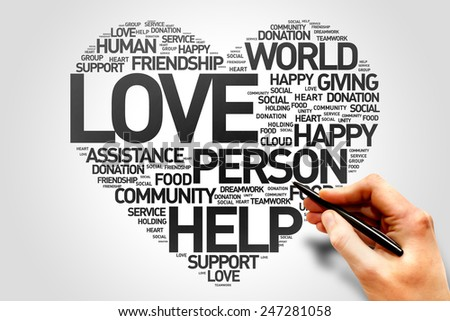 Love, Charity and Productivity Heart word cloud concept - stock photo