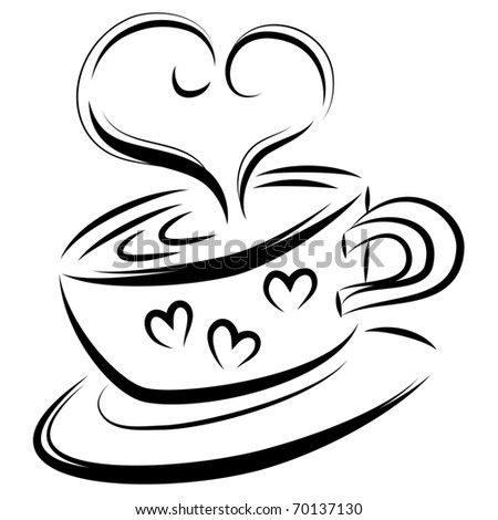 Love coffee line art - stock photo