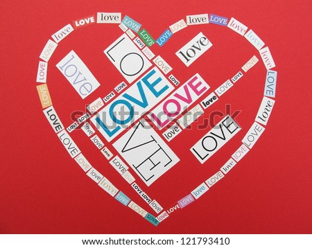 love collage from words cut out magazines - stock photo