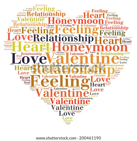 love concept in word tag cloud on white background