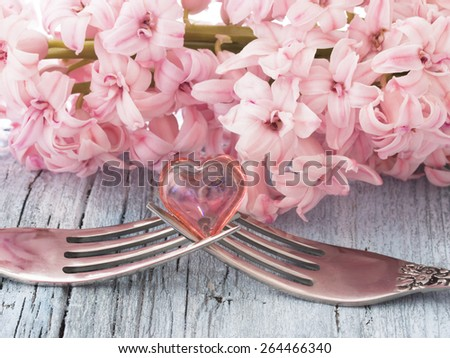 love concept, two forks with heart symbol - stock photo