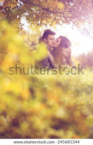 Love couple embrace under a tree in the autumn park - stock photo