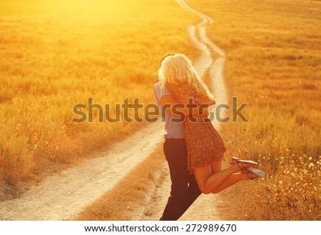Love Couple in love romantic road summer field happy - stock photo