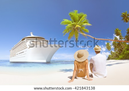 Love Couple Sitting Beach Concept - stock photo