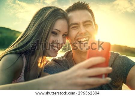 Love Couple smiling, close-up photo selfie - stock photo