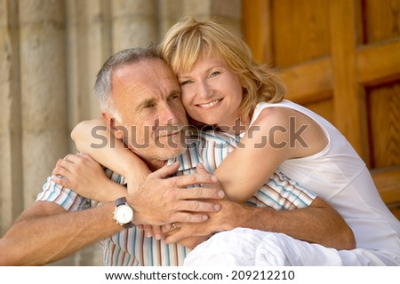 Love couple with age difference - stock photo