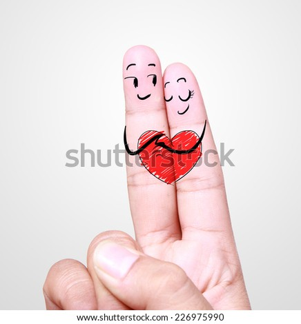 love couple with drawing finger concept - stock photo