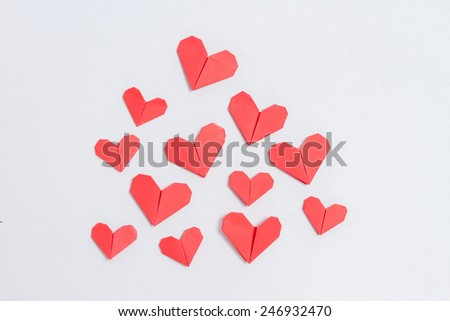 Love day. Handmade DIY origami hearts background, with copy space - stock photo