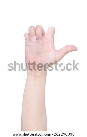 Love disabled hand sign isolated on white. - stock photo