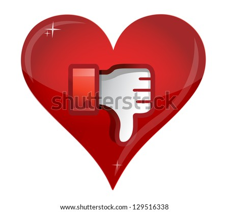 love Dislike Icon. Thumb down Sign illustration design - stock photo