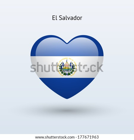 Love El Salvador Symbol Heart Flag Stock Illustration 177671963