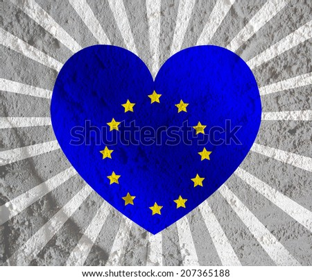 Love EU flag European union flag sign heart symbol on Cement wall texture background design - stock photo