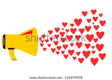Love , flat design - stock photo