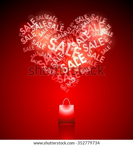"""Love for shopping and sales expressed in the heart of the word """"Sale"""" is coming out of the grocery bag on a deep red background. - stock photo"""