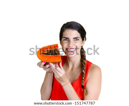 Love Fruits: Pretty Woman smiling while showing a Papaya