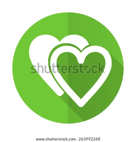 love green flat icon sign hearts symbol