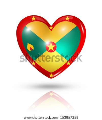 Love Grenada symbol. 3D heart flag icon isolated on white with clipping path - stock photo