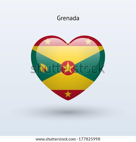 Love Grenada symbol. Heart flag icon. See also vector version. - stock photo